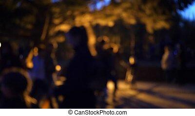 soir, gens, parc, lumières, promenade, clair, waterfront., barbouillage