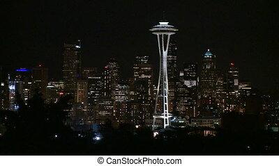 soir, -, haut, en ville, seattle, moule