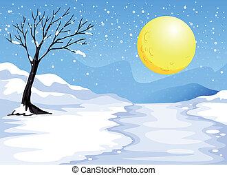 soir, neigeux