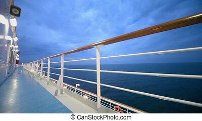 soir, pont, flotteur, mer, croisière, pendant, bateau, vide