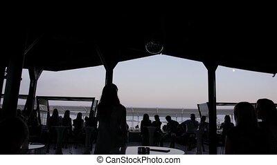 soir, réunion, ciel, silhouettes, contre, gens, mer