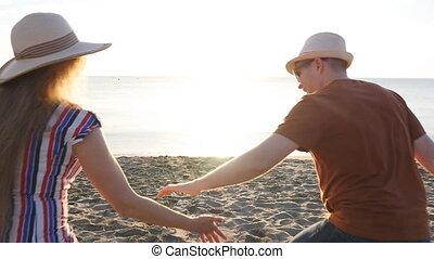 soir, romantique, femme, séduisant, apprécier, plage, homme