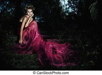 soir, serene., séance, scénique, -, long, robe, photos, forêt, série, fée, séduisant, escalier, girl