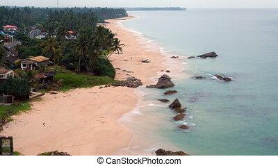 soir, timelapse, lanka, sri, océan, plage tropicale