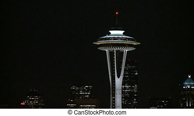 soir, -, zoom, en ville, lent, seattle, dehors