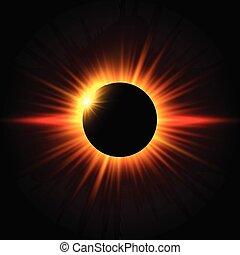 solaire, fond, éclipse