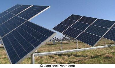 solaire, génération, énergie, plantation., lumière soleil, propre, alternative, panneau