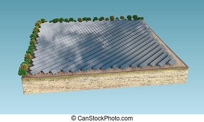 solaire, propre, energy., engendrer, panneaux, 4k.