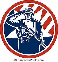 soldat, américain, retro, tenue, fusil, salut