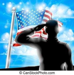 soldat, américain, silhouette, drapeau, saluer