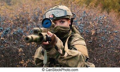 soldat, arme, femme