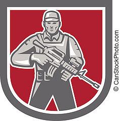 soldat, assaut, militaire, bouclier, fusil