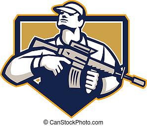 soldat, assaut, retro, fusil, militaire, serivceman