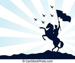 soldat, cheval, drapeau, icône, militaire, silhouette, onduler, isolé