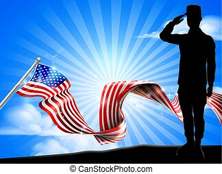 soldat, drapeau américain, fond, saluer