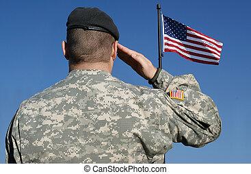 soldat, drapeau, salutes