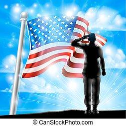 soldat, drapeau, silhouette, américain, saluer