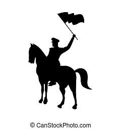 soldat, icône, cheval, onduler, silhouette, militaire, isolé, drapeau