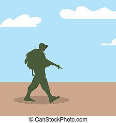 soldat, marche, silhouette, armée