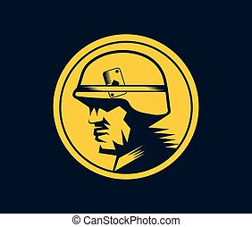 soldat, mascotte, étiquette