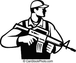 soldat, militaire, assaut, blanc, militaire, côté, noir, fusil, retro, ou, regarder