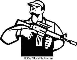 soldat, militaire, assaut, blanc, militaire, noir, fusil, retro, vue frontale, tenue