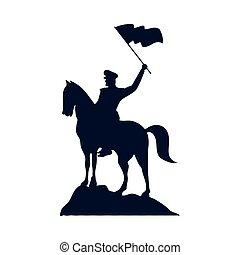 soldat, onduler, isolé, militaire, cheval, silhouette, icône, drapeau