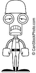 soldat, triste, robot, dessin animé