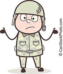 soldat, vecteur, caractère, dessin animé, surpris