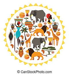 soleil, africaine, icons., stylisé, forme, fond, ethnique