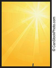 soleil, asymétrique, éclater, lumière, jaune, orange