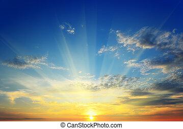 soleil, au-dessus, horizon