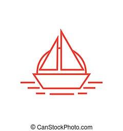 soleil, bateau, linéaire, logo, bateau, océan, vecteur