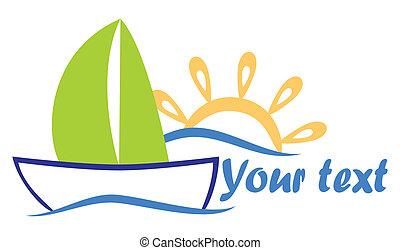 soleil, bateau, mer