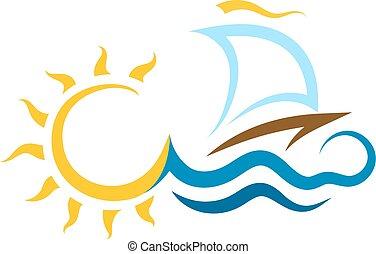 soleil, bateau, vagues