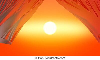 soleil, beau, orange, hd, vue., ultra, lumière, soyeux, 3d, ouverture, vent, animation, soir, 3840x2160., ciel, 4k, rideaux, curtains., par, onduler, coucher soleil
