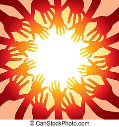 soleil, chaud, autour de, mains