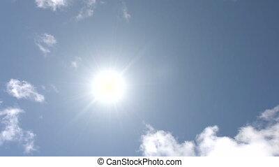 soleil, ciel, hd, mouvements, travers, midi