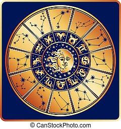 soleil, circle., lune, zodiaque, signe, constellations, horoscope