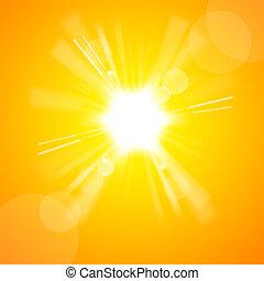 soleil, clair, jaune