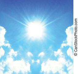soleil, clair, vecteur, briller, skies.