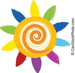 soleil, coloré, icône