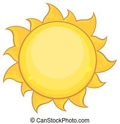 soleil, coloré, simple, jaune