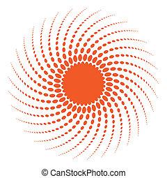 soleil, conception abstraite, element., halftone