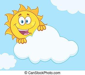 soleil, derrière, heureux, nuage, dissimulation