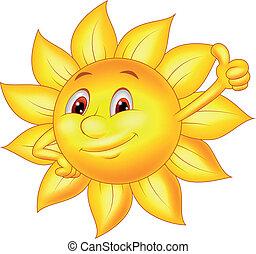 soleil, dessin animé, caractère, pouce haut