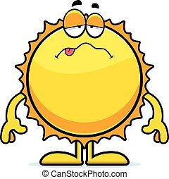 soleil, dessin animé, malade