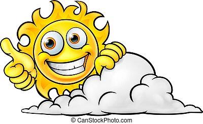 soleil, dessin animé, nuage, mascotte