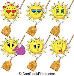 soleil, dessin animé, tenue, broom.