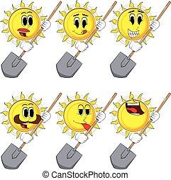 soleil, dessin animé, tenue, shovel.